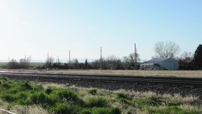 Rural train tracks stock footage