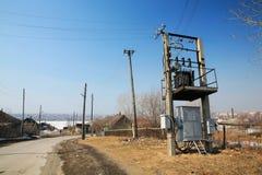 Rural transformer station Royalty Free Stock Photo
