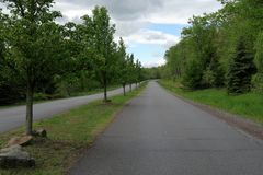 Rural Tree Lined Road With Separated Lanes. A rural tree lined road with separated lanes in green country setting in the Pocono Mountains of Northeastern Stock Photography