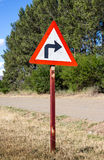 Rural turn sharp right traffic sign Royalty Free Stock Image