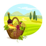 Rural Tuscan landscape with a branch of grapes Royalty Free Stock Photography
