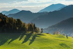 Rural unspoiled landscape, rolling hills in Slovenia.  stock photo