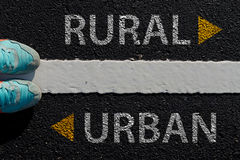 Rural Urban with arrow different way concept to choose way to ur Royalty Free Stock Photos