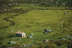Rural van in front of small house on green fields. Rural van in front of lonely small house on green fields with bushes and rocks, in a sunny day at the Serra da stock photography