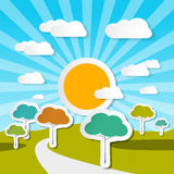 Rural Vector Landscape Nature Illustration Royalty Free Stock Photos