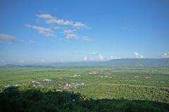 Rural and verdant Burma from the hill of the Su Taung Pyae Pagoda in Myanmar. Scenes of beautiful rural Burma beyond the city of Mandalay Stock Images