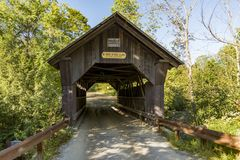 Covered Bridge Gold Brook in Stowe Vermont royalty free stock photography