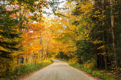 Rural Vermont Road. A rural road in Vermont's Green Mountains during Autumn with fall foliage Stock Photo