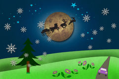 Rural View And Santa Claus S Animal With Moon Royalty Free Stock Photo