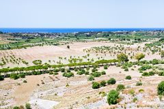 Rural view on Mediterranean coast in Sicily Stock Image
