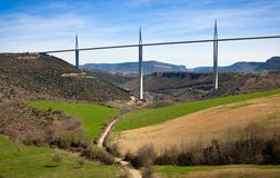 Rural view of Millau bridge valley Stock Image