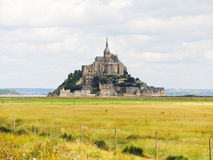 Rural view with mont saint-michel abbey Royalty Free Stock Photos