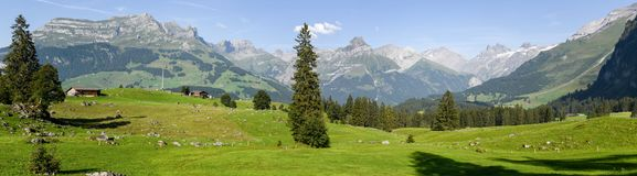 Rural view over Engelberg on Switzerland Royalty Free Stock Image