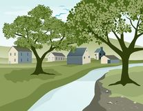 Rural Village. Illustration of a river landscape with a small village in the background Royalty Free Stock Images