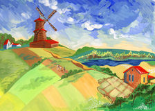 Rural Village. The mill, houses and a farmer on the background of the rural landscape in the summer. Painting in gouache on paper. Is clearly visible texture Royalty Free Stock Photography
