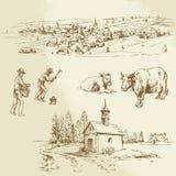 Rural village, agriculture vector illustration