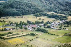 Rural Village with Farmland Stock Image