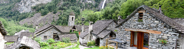 The rural village of Foroglio on Bavona valley Stock Image