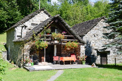 The rural village near Lavertezzo on Verzasca valley Royalty Free Stock Images