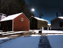 Rural village at night Royalty Free Stock Image