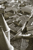 Rural village of Olite in Navarra. Sepia tone. Spain Royalty Free Stock Image