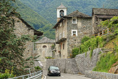Rural Village - San Bartolomeo. Ticino-style stone houses of the rural village San Bartolomeo in the Verzasca Valley, Switzerland Stock Photo