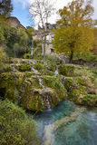 Rural village with waterfall in Spain. Orbaneja del Castillo. Bu Stock Photography