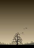 Rural Vs urban. Illustration of a lonely tree with a city in the backdrop stock illustration