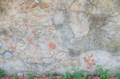 Rural wall. Background cracked and damaged Stock Photos