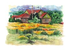 Rural watercolor landscape with old farmhouse. Hand drawing illustration Stock Images