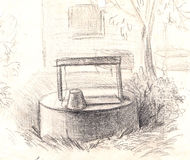 Rural well with water. hand painted Pencil drawing Stock Image