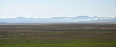 Rural wind farms at Lake George in Australia. View of huge wind turbines windmills. Lake George is an endorheic lake, as it has no outflow of water to rivers stock images