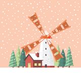 Rural windmill covered in snow Stock Photography