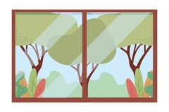 Rural through the window. Icon cartoon vector illustration graphic design royalty free illustration