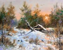 Rural winter landscape vector illustration