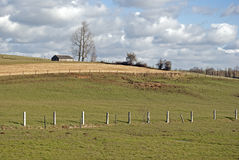 Rural winter landscape with barn Royalty Free Stock Photography