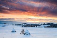 Rural winter landscape with haystacks Stock Image