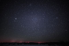 Rural Winter Landscape at night with trees and stars Royalty Free Stock Images