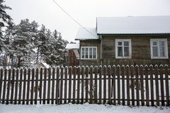 Rural winter landscape in the Republic of Karelia Stock Photo