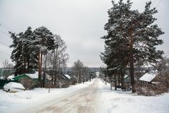 Rural winter landscape in the Republic of Karelia. Royalty Free Stock Images