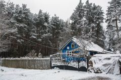 Rural winter landscape in the Republic of Karelia. Stock Photo