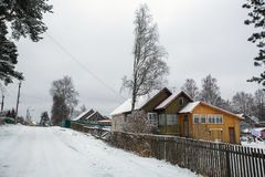 Rural winter landscape in the Republic of Karelia Stock Images