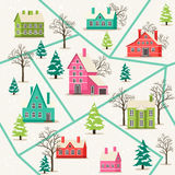 Rural winter landscape seamless pattern. Vector illustration. Houses in snowfall, rural winter landscape. Funny holiday background with snow covered houses and Royalty Free Stock Images