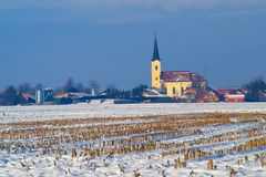 Rural Winter Landscape, Slovenia Royalty Free Stock Photography