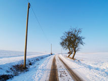 Rural winter road Stock Photos