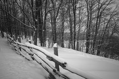 Rural winter scene with fence stock photos