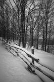 Rural winter scene with fence Royalty Free Stock Images