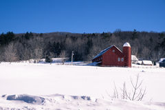 Rural winter scene in New England stock photography