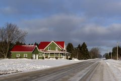 Rural Winter Scene in Simcoe County, Ontario Stock Photography