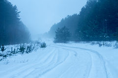 Rural winter snowy landscape Royalty Free Stock Image